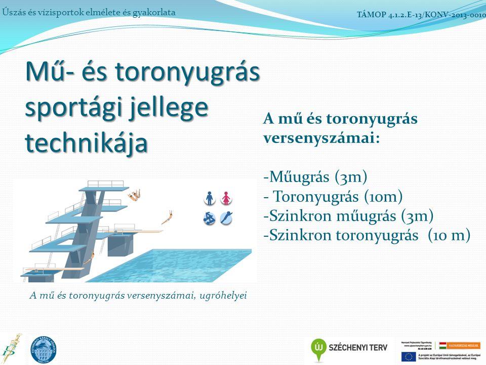 Mű- és toronyugrás sportági jellege technikája Úszás és vízisportok elmélete és gyakorlata TÁMOP 4.1.2.E-13/KONV-2013-0010 A mű és toronyugrás versenyszámai: -Műugrás (3m) - Toronyugrás (10m) -Szinkron műugrás (3m) -Szinkron toronyugrás (10 m) A mű és toronyugrás versenyszámai, ugróhelyei
