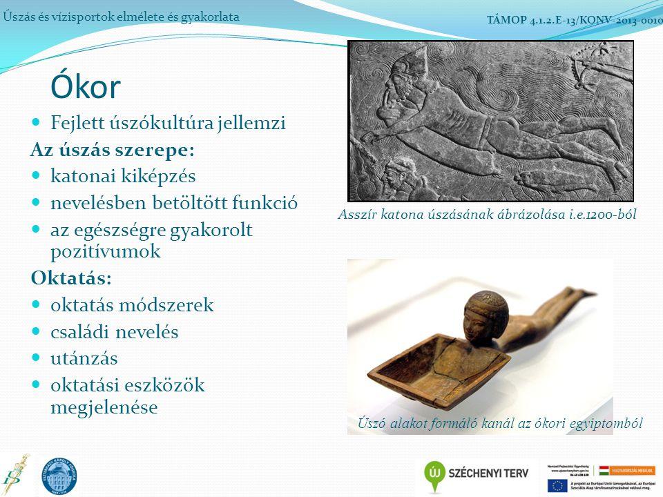 Ókor Fejlett úszókultúra jellemzi Az úszás szerepe: katonai kiképzés nevelésben betöltött funkció az egészségre gyakorolt pozitívumok Oktatás: oktatás módszerek családi nevelés utánzás oktatási eszközök megjelenése Úszás és vízisportok elmélete és gyakorlata TÁMOP 4.1.2.E-13/KONV-2013-0010 Asszír katona úszásának ábrázolása i.e.1200-ból Úszó alakot formáló kanál az ókori egyiptomból
