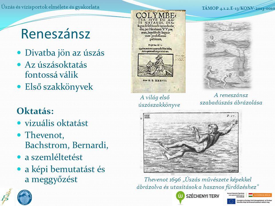 """Divatba jön az úszás Az úszásoktatás fontossá válik Első szakkönyvek Oktatás: vizuális oktatást Thevenot, Bachstrom, Bernardi, a szemléltetést a képi bemutatást és a meggyőzést Úszás és vízisportok elmélete és gyakorlata TÁMOP 4.1.2.E-13/KONV-2013-0010 A világ első úszószakkönyve Reneszánsz A reneszánsz szabadúszás ábrázolása Thevenot 1696 """"Úszás művészete képekkel ábrázolva és utasítások a hasznos fürdőzéshez"""