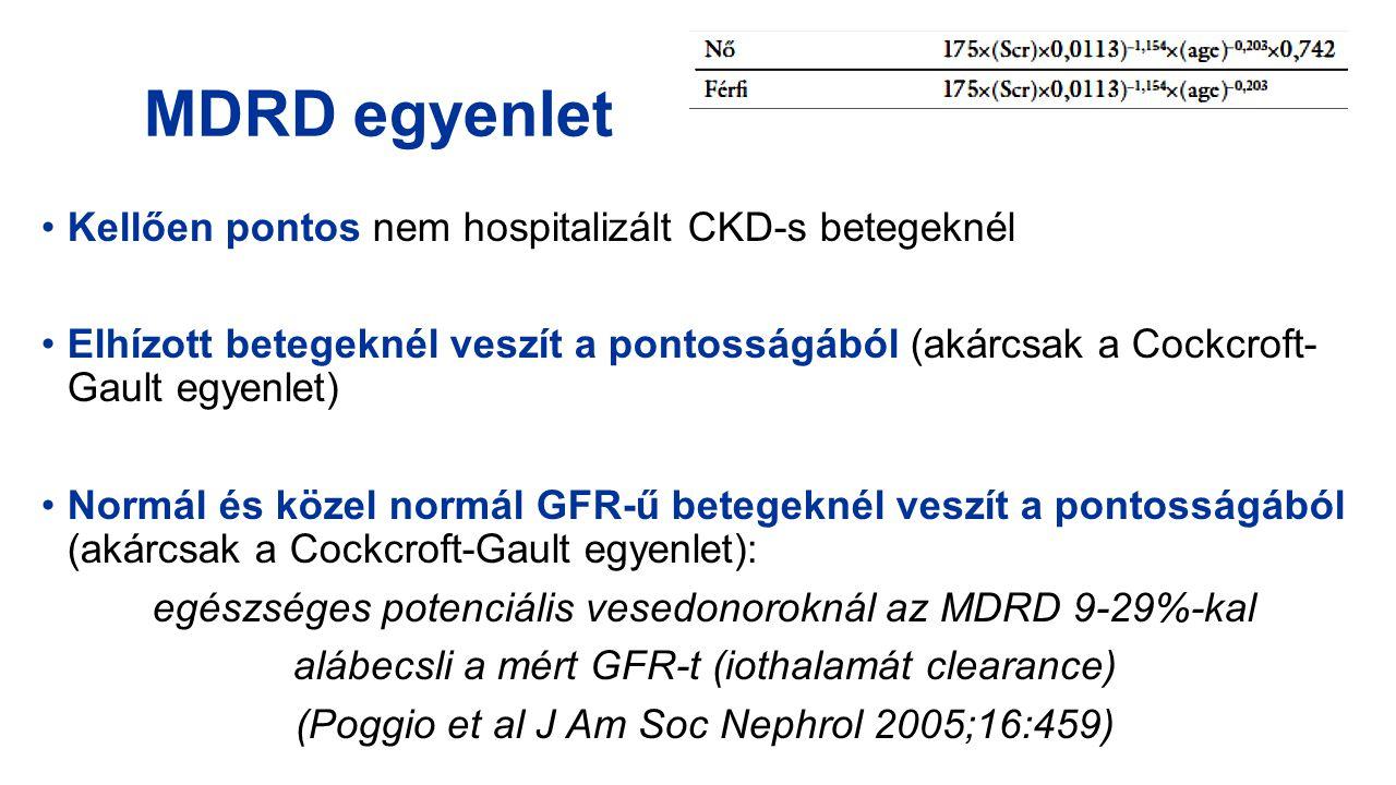 MDRD egyenlet Kellően pontos nem hospitalizált CKD-s betegeknél Elhízott betegeknél veszít a pontosságából (akárcsak a Cockcroft- Gault egyenlet) Norm
