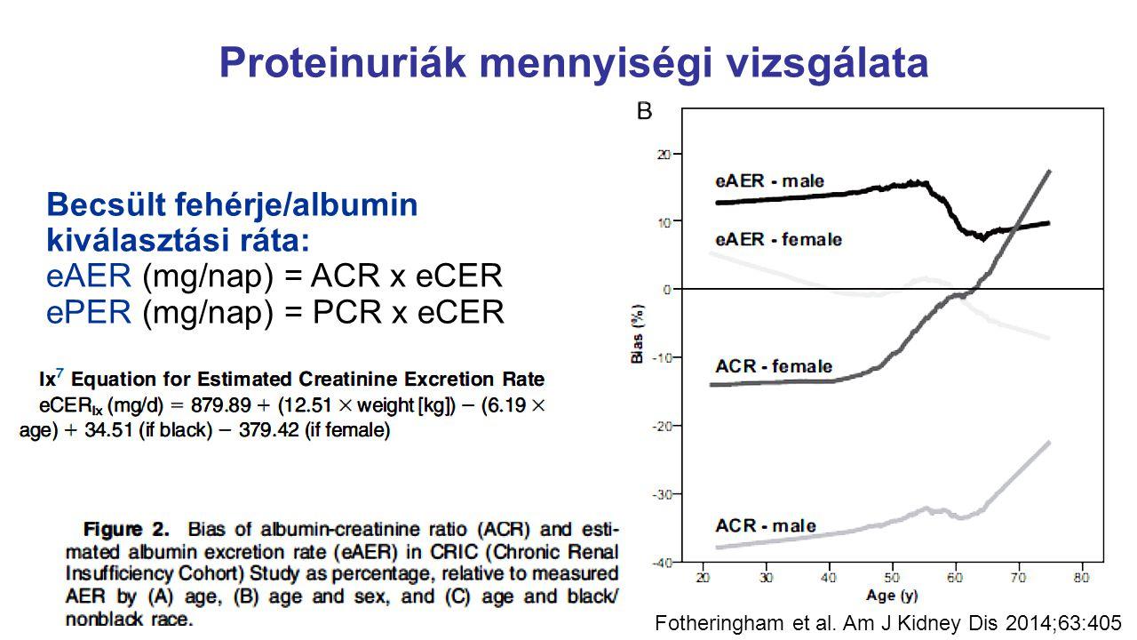 Proteinuriák mennyiségi vizsgálata Becsült fehérje/albumin kiválasztási ráta: eAER (mg/nap) = ACR x eCER ePER (mg/nap) = PCR x eCER Fotheringham et al