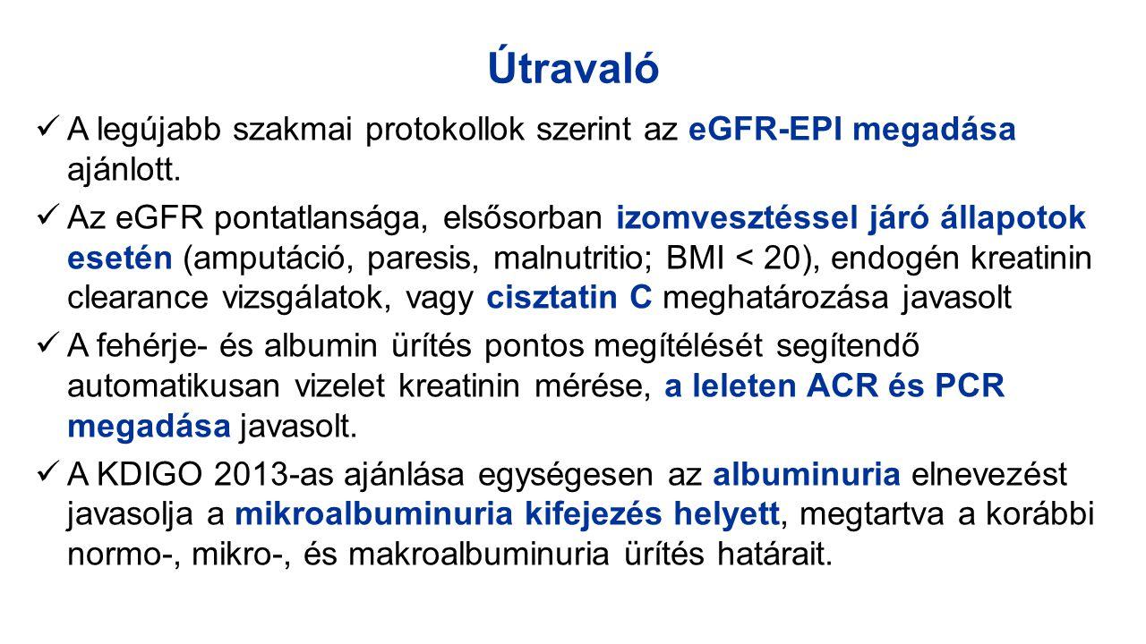 Útravaló A legújabb szakmai protokollok szerint az eGFR-EPI megadása ajánlott. Az eGFR pontatlansága, elsősorban izomvesztéssel járó állapotok esetén