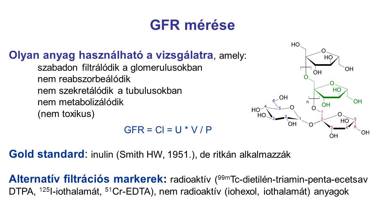 eGFR gyermekeknél Schwartz formula (1976., 1987.): GFR (ml/perc/1,73m 2 ) = k x H(cm) / Scr(mg/dl) ahol k = 0,33 idő előtt született újszülöttek k = 0,45 újszülöttek és < 1 év k = 0,55 kisgyermekek és serdülő lányok k = 0,70 serdülő fiúk Bedside IDMS-traceable Schwartz eGFR: eGFR (ml/perc/1,73m 2 )= 36,2 x H(cm) / Scr( µ mol/l) Módosított Schwartz formula – CKiD study (2009.):