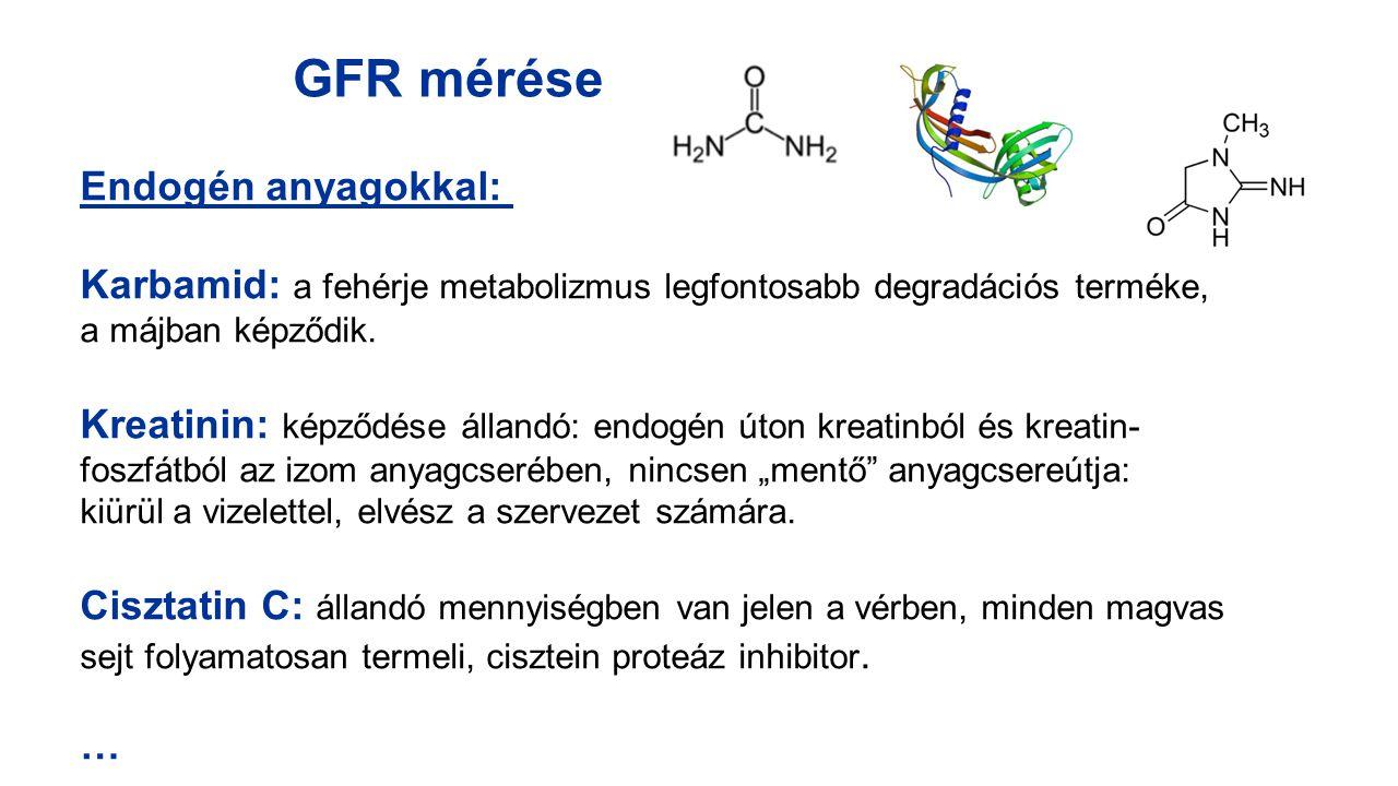 GFR mérése Endogén anyagokkal: Karbamid: a fehérje metabolizmus legfontosabb degradációs terméke, a májban képződik. Kreatinin: képződése állandó: end