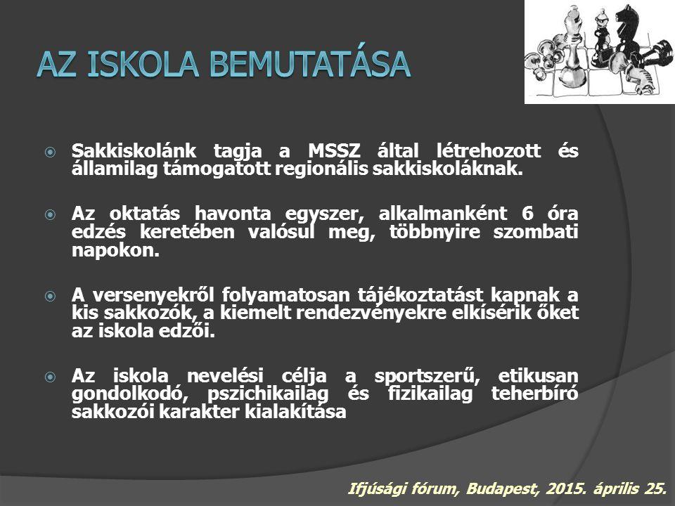  Sakkiskolánk tagja a MSSZ által létrehozott és államilag támogatott regionális sakkiskoláknak.  Az oktatás havonta egyszer, alkalmanként 6 óra edzé