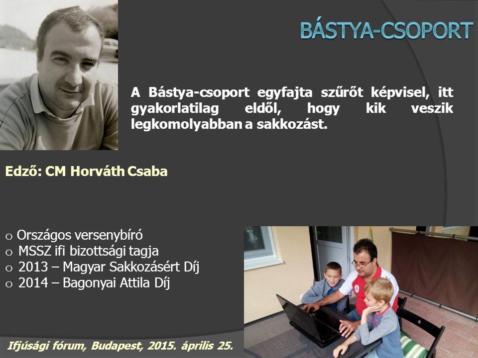 A Bástya-csoport egyfajta szűrőt képvisel, itt gyakorlatilag eldől, hogy kik veszik legkomolyabban a sakkozást. Edző: CM Horváth Csaba o Országos vers