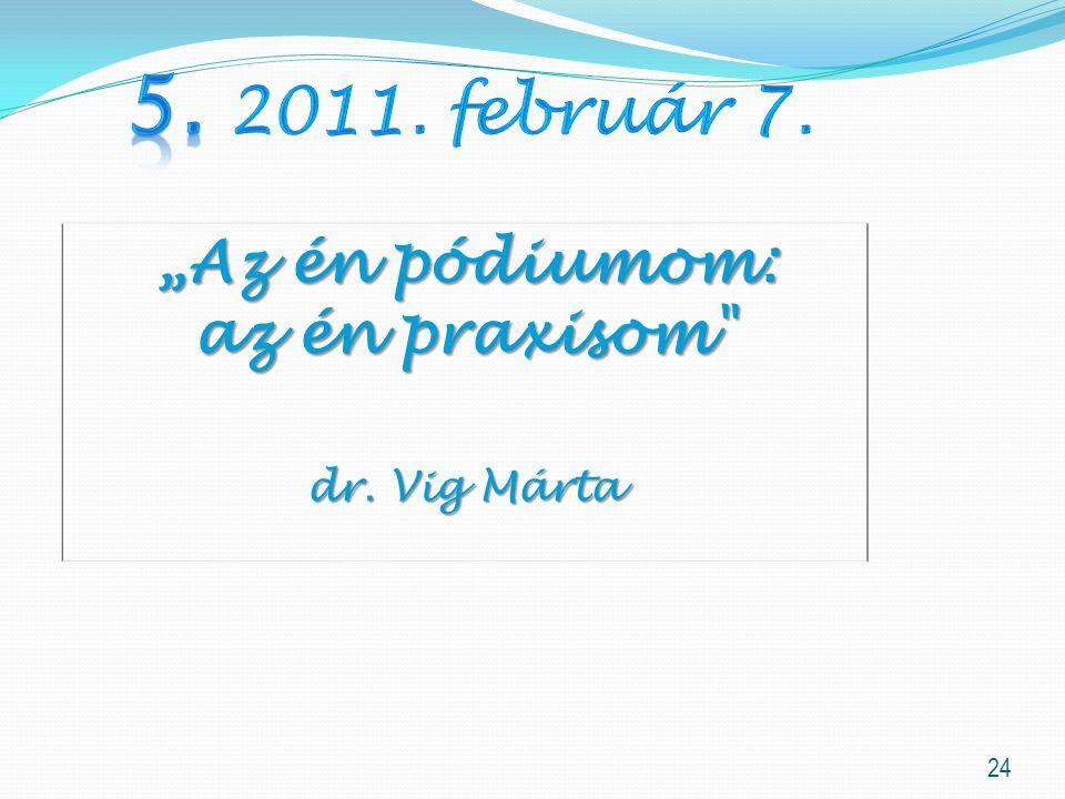 """24 """"Az én pódiumom: az én praxisom dr. Vig Márta"""