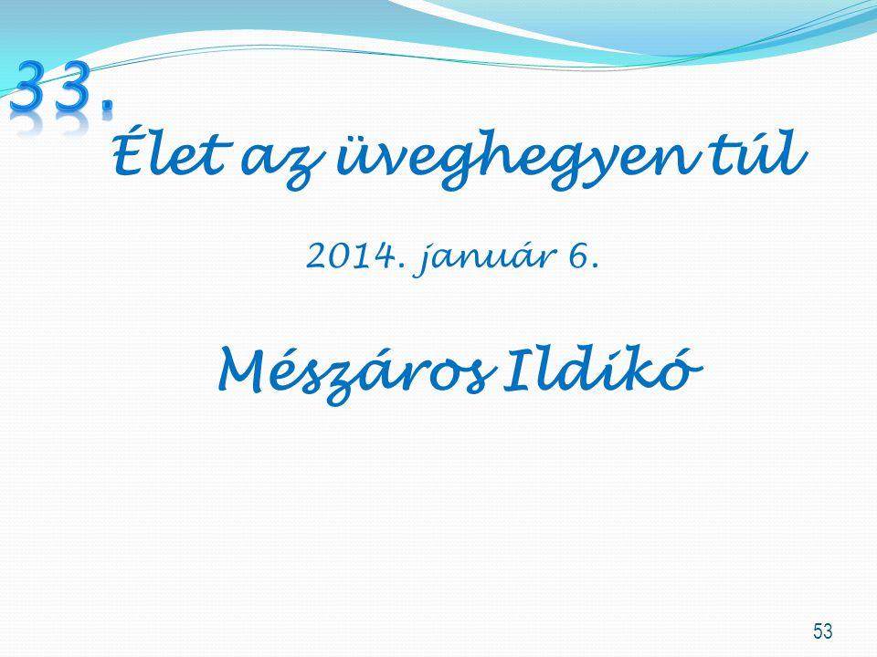 53 Élet az üveghegyen túl 2014. január 6. Mészáros Ildikó