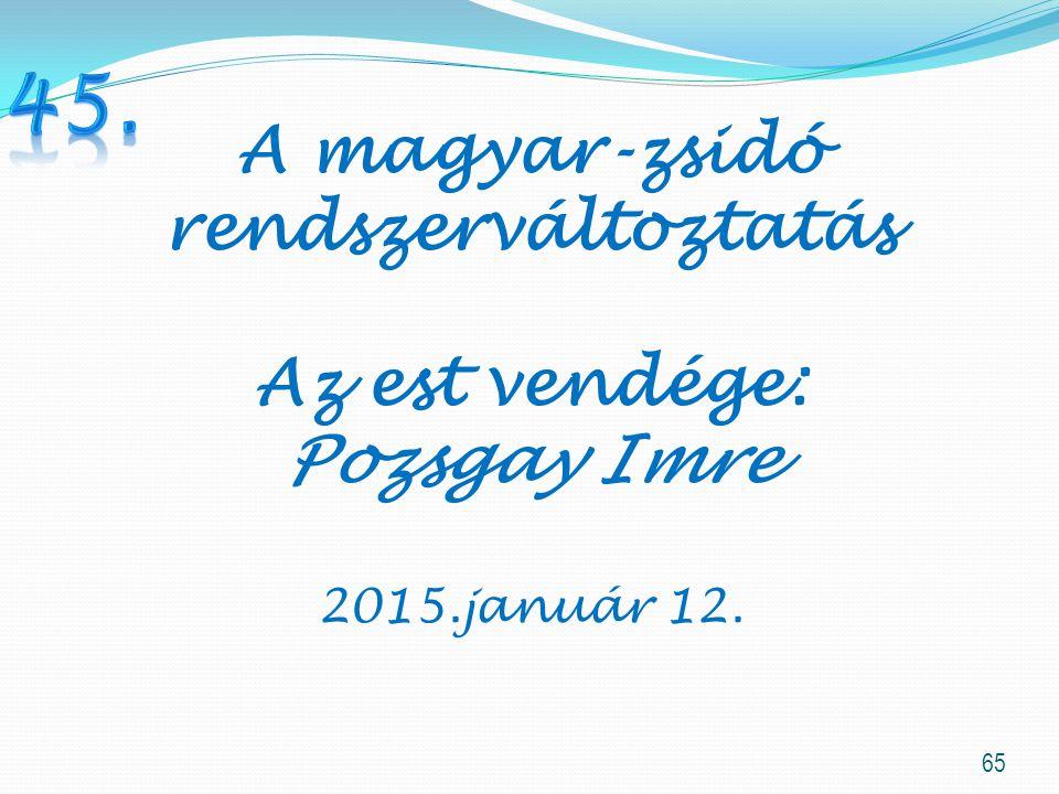 65 A magyar-zsidó rendszerváltoztatás Az est vendége: Pozsgay Imre 2015.január 12.