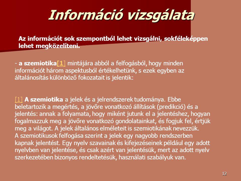 12 Információ vizsgálata Az információt sok szempontból lehet vizsgálni, sokféleképpen lehet megközelíteni.