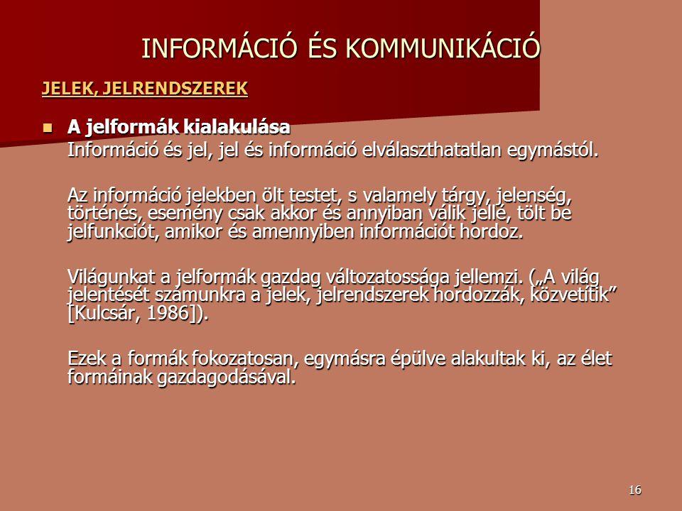 16 INFORMÁCIÓ ÉS KOMMUNIKÁCIÓ JELEK, JELRENDSZEREK JELEK, JELRENDSZEREK A jelformák kialakulása A jelformák kialakulása Információ és jel, jel és információ elválaszthatatlan egymástól.