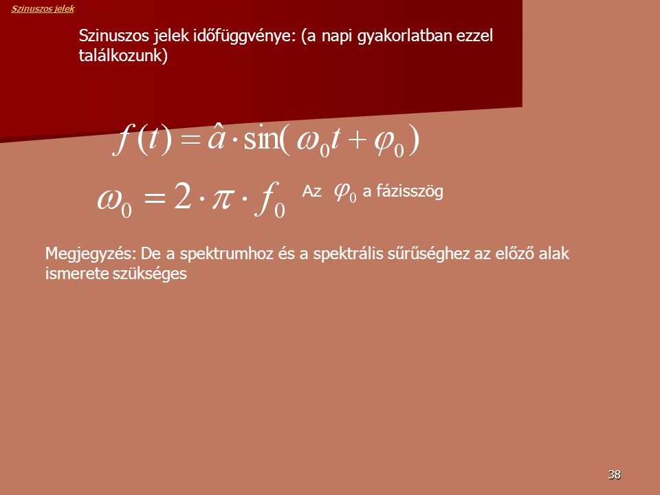 38 Szinuszos jelek időfüggvénye: (a napi gyakorlatban ezzel találkozunk) Az a fázisszög Megjegyzés: De a spektrumhoz és a spektrális sűrűséghez az előző alak ismerete szükséges Szinuszos jelek