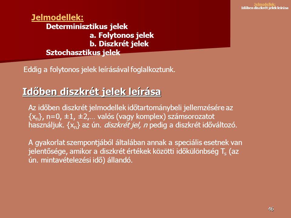 46 Jelmodellek: Determinisztikus jelek a.Folytonos jelek b.