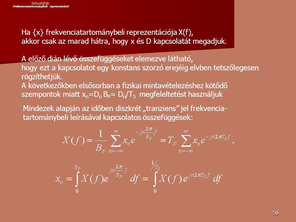 50 Ha {x} frekvenciatartománybeli reprezentációja X(f), akkor csak az marad hátra, hogy x és D kapcsolatát megadjuk.