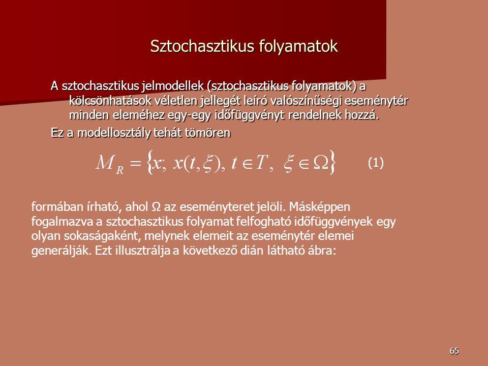 65 Sztochasztikus folyamatok A sztochasztikus jelmodellek (sztochasztikus folyamatok) a kölcsönhatások véletlen jellegét leíró valószínűségi eseménytér minden eleméhez egy-egy időfüggvényt rendelnek hozzá.