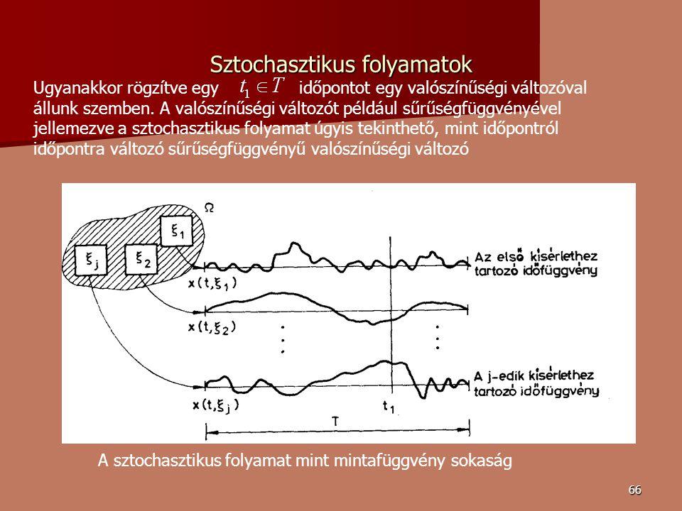 66 Sztochasztikus folyamatok A sztochasztikus folyamat mint mintafüggvény sokaság Ugyanakkor rögzítve egy időpontot egy valószínűségi változóval állunk szemben.