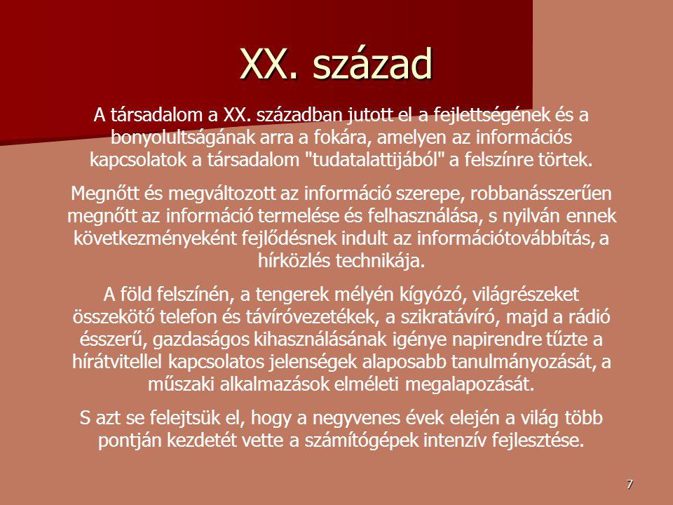 7 XX.század A társadalom a XX.