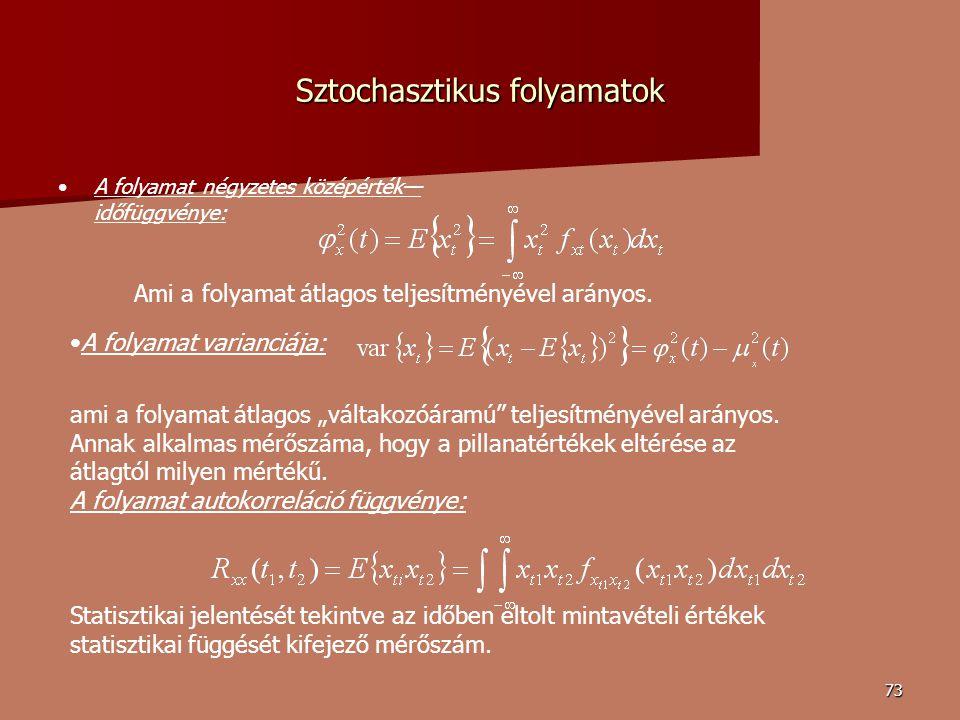 73 Sztochasztikus folyamatok A folyamat négyzetes középérték— időfüggvénye: Ami a folyamat átlagos teljesítményével arányos.