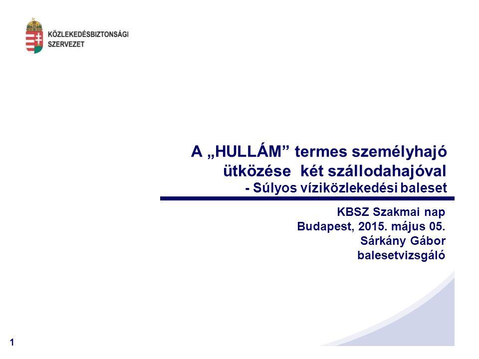 """1 A """"HULLÁM"""" termes személyhajó ütközése két szállodahajóval - Súlyos víziközlekedési baleset KBSZ Szakmai nap Budapest, 2015. május 05. Sárkány Gábor"""