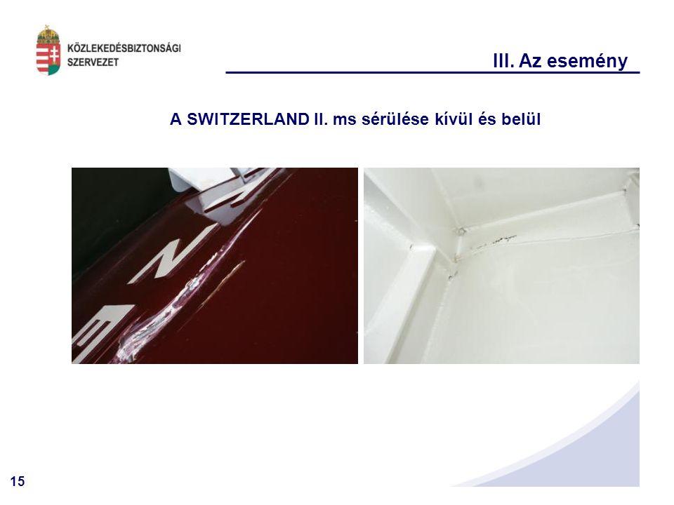 15 III. Az esemény A SWITZERLAND II. ms sérülése kívül és belül
