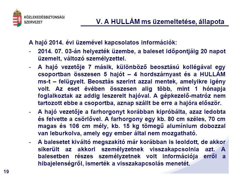 19 V. A HULLÁM ms üzemeltetése, állapota A hajó 2014. évi üzemével kapcsolatos információk: -2014. 07. 03-án helyezték üzembe, a baleset időpontjáig 2