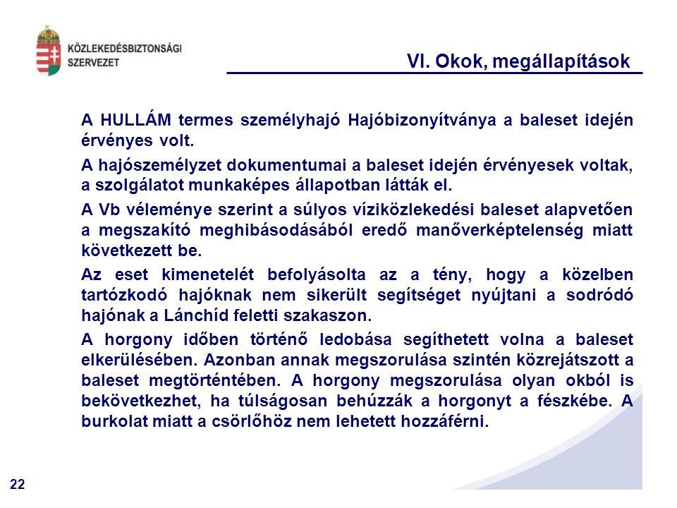22 VI. Okok, megállapítások A HULLÁM termes személyhajó Hajóbizonyítványa a baleset idején érvényes volt. A hajószemélyzet dokumentumai a baleset idej