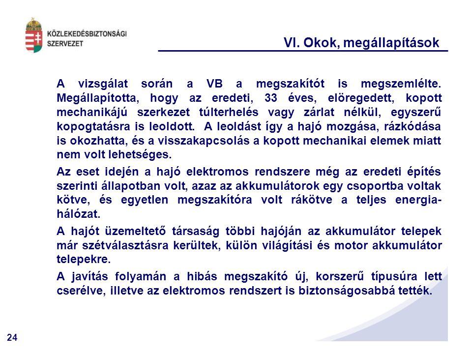 24 VI. Okok, megállapítások A vizsgálat során a VB a megszakítót is megszemlélte. Megállapította, hogy az eredeti, 33 éves, elöregedett, kopott mechan
