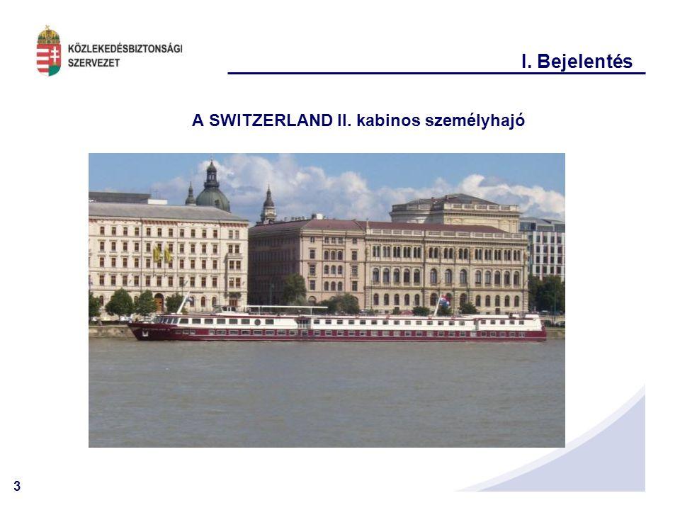 3 I. Bejelentés A SWITZERLAND II. kabinos személyhajó