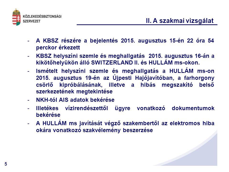 5 II. A szakmai vizsgálat -A KBSZ részére a bejelentés 2015. augusztus 15-én 22 óra 54 perckor érkezett -KBSZ helyszíni szemle és meghallgatás 2015. a