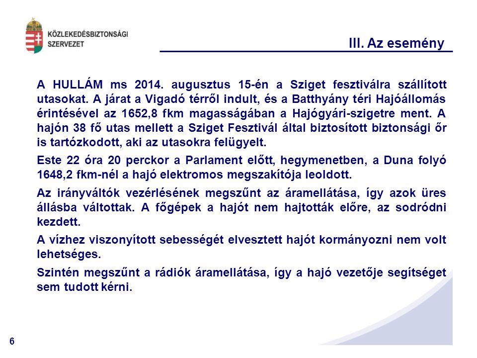 6 III. Az esemény A HULLÁM ms 2014. augusztus 15-én a Sziget fesztiválra szállított utasokat. A járat a Vigadó térről indult, és a Batthyány téri Hajó