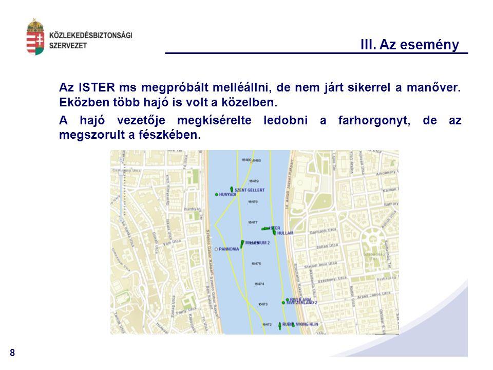 8 III. Az esemény Az ISTER ms megpróbált melléállni, de nem járt sikerrel a manőver. Eközben több hajó is volt a közelben. A hajó vezetője megkísérelt
