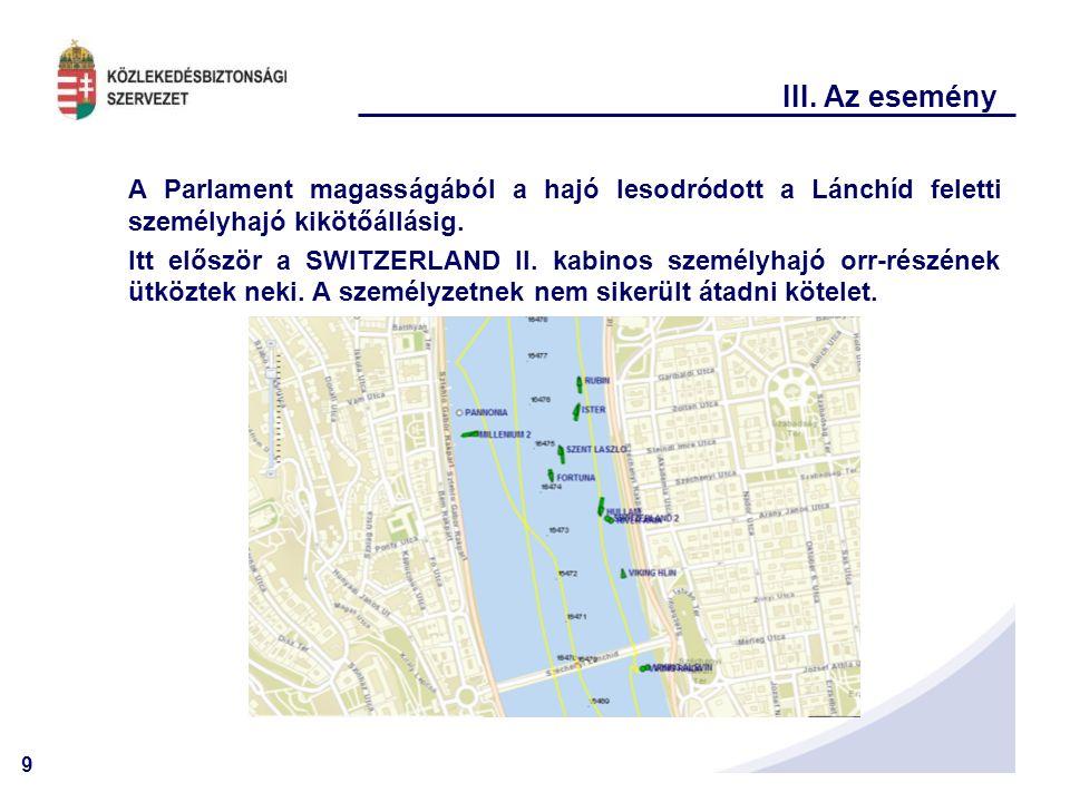 9 III. Az esemény A Parlament magasságából a hajó lesodródott a Lánchíd feletti személyhajó kikötőállásig. Itt először a SWITZERLAND II. kabinos szemé