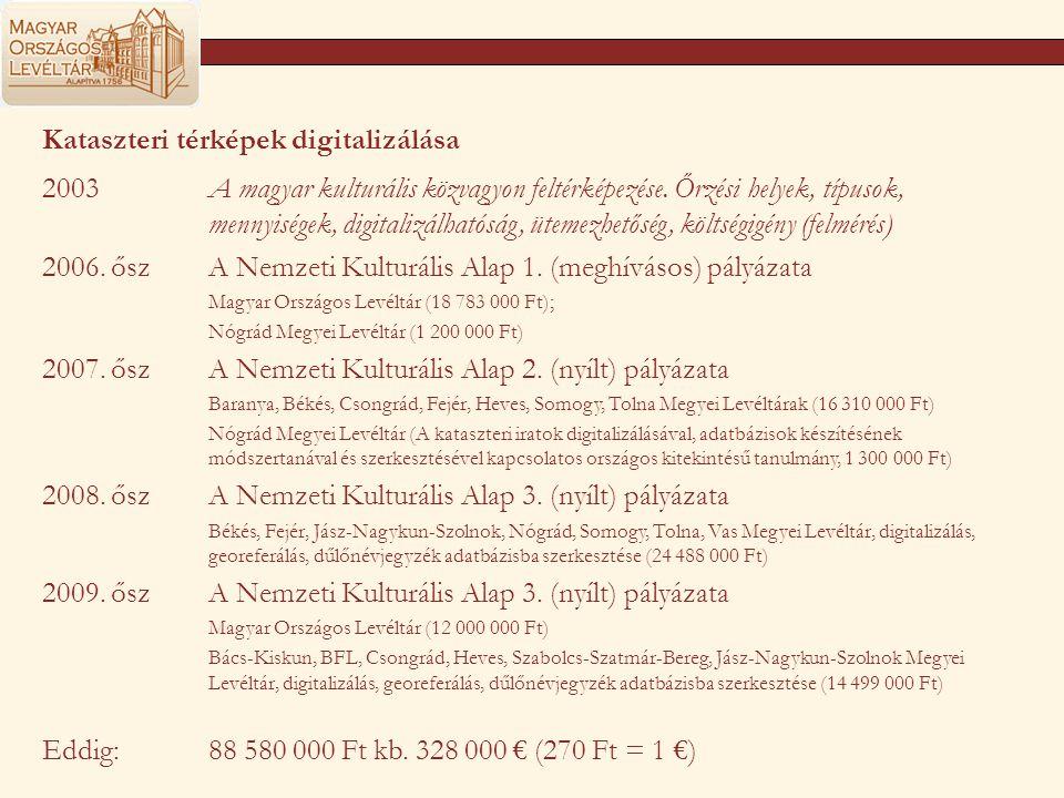 Kataszteri térképek digitalizálása 2003A magyar kulturális közvagyon feltérképezése. Őrzési helyek, típusok, mennyiségek, digitalizálhatóság, ütemezhe