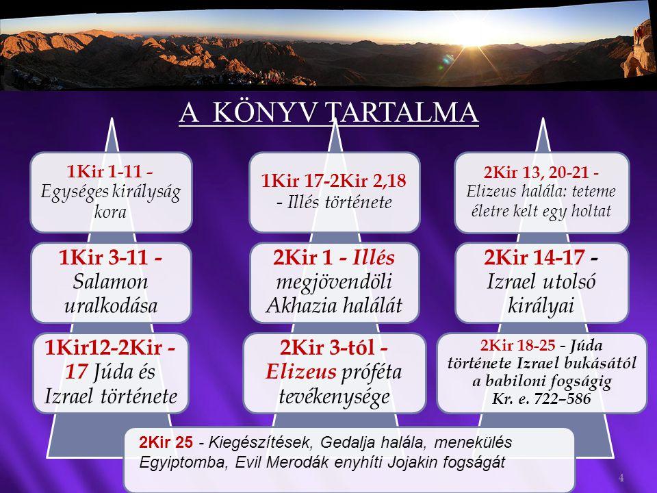 A KÖNYV TARTALMA KIRÁLYOK ELSŐ KÖNYVE 4 1Kir 1-11 - Egységes királyság kora 1Kir 3-11 - Salamon uralkodása 1Kir12-2Kir - 17 Júda és Izrael története 1