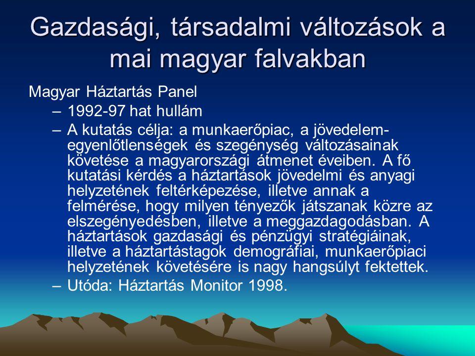 Gazdasági, társadalmi változások a mai magyar falvakban Magyar Háztartás Panel –1992-97 hat hullám –A kutatás célja: a munkaerőpiac, a jövedelem- egyenlőtlenségek és szegénység változásainak követése a magyarországi átmenet éveiben.