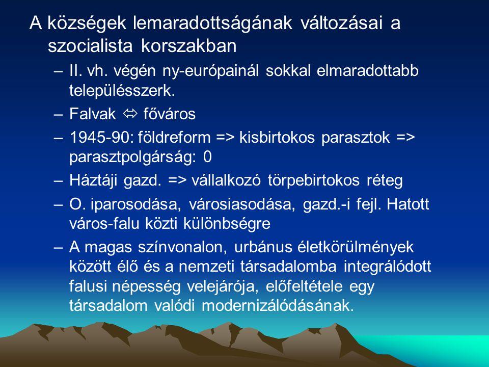 A községek lemaradottságának változásai a szocialista korszakban –II.