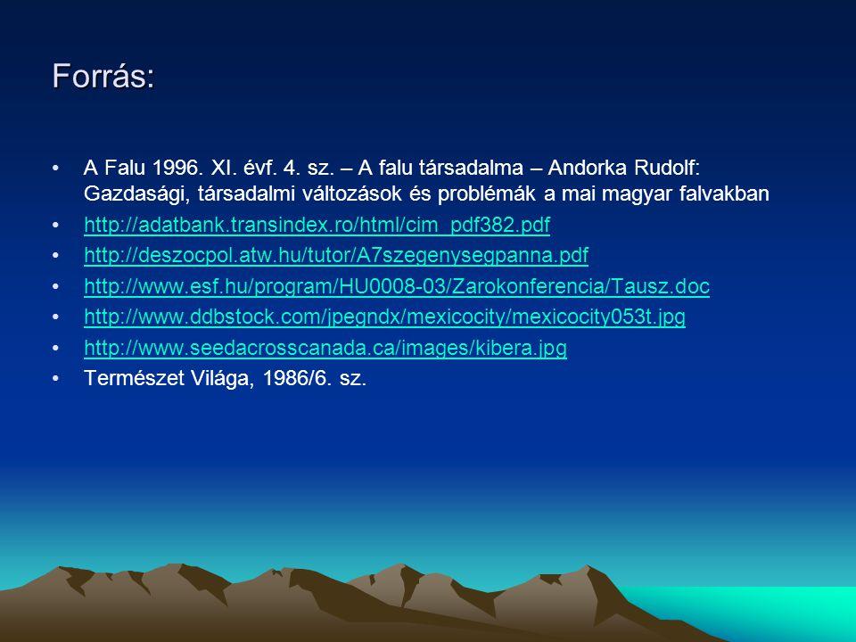 Forrás: A Falu 1996. XI. évf. 4. sz. – A falu társadalma – Andorka Rudolf: Gazdasági, társadalmi változások és problémák a mai magyar falvakban http:/