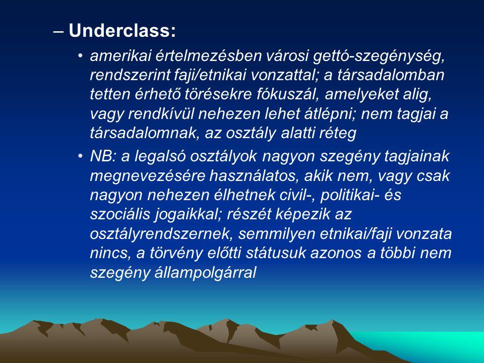 –Underclass: amerikai értelmezésben városi gettó-szegénység, rendszerint faji/etnikai vonzattal; a társadalomban tetten érhető törésekre fókuszál, ame