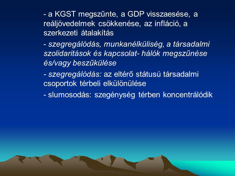 - a KGST megszűnte, a GDP visszaesése, a reáljövedelmek csökkenése, az infláció, a szerkezeti átalakítás - szegregálódás, munkanélküliség, a társadalmi szolidaritások és kapcsolat- hálók megszűnése és/vagy beszűkülése - szegregálódás: az eltérő státusú társadalmi csoportok térbeli elkülönülése - slumosodás: szegénység térben koncentrálódik