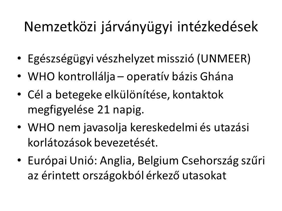 Nemzetközi járványügyi intézkedések Egészségügyi vészhelyzet misszió (UNMEER) WHO kontrollálja – operatív bázis Ghána Cél a betegeke elkülönítése, kontaktok megfigyelése 21 napig.
