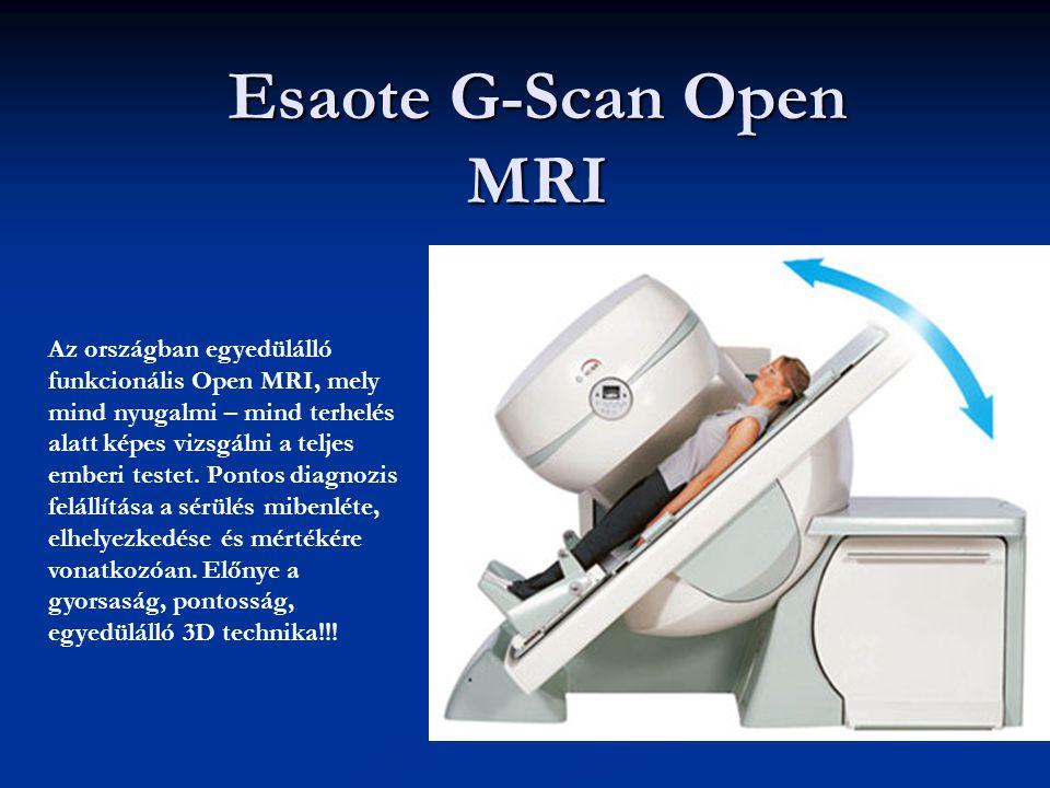 Esaote G-Scan Open MRI Az országban egyedülálló funkcionális Open MRI, mely mind nyugalmi – mind terhelés alatt képes vizsgálni a teljes emberi testet