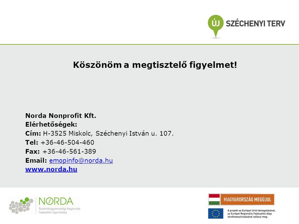 Köszönöm a megtisztelő figyelmet! Norda Nonprofit Kft. Elérhetőségek: Cím: H-3525 Miskolc, Széchenyi István u. 107. Tel: +36-46-504-460 Fax: +36-46-56