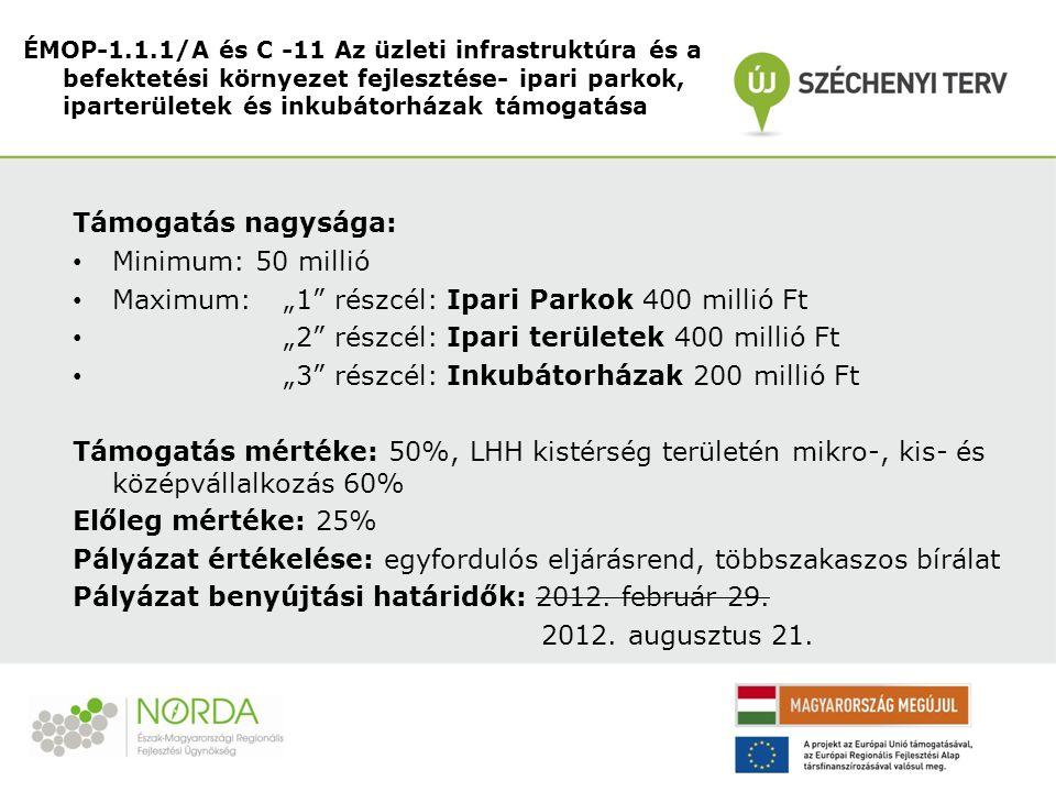 """Támogatás nagysága: Minimum: 50 millió Maximum:""""1"""" részcél: Ipari Parkok 400 millió Ft """"2"""" részcél: Ipari területek 400 millió Ft """"3"""" részcél: Inkubát"""