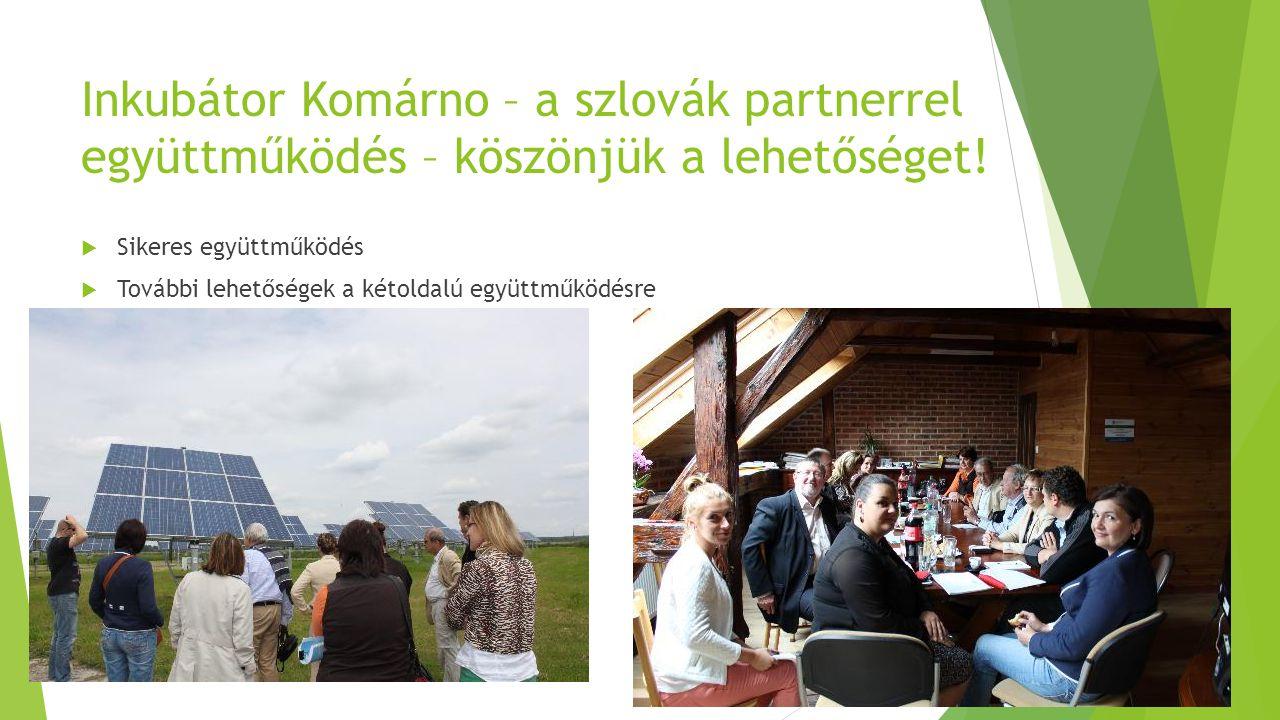 Inkubátor Komárno – a szlovák partnerrel együttműködés – köszönjük a lehetőséget.