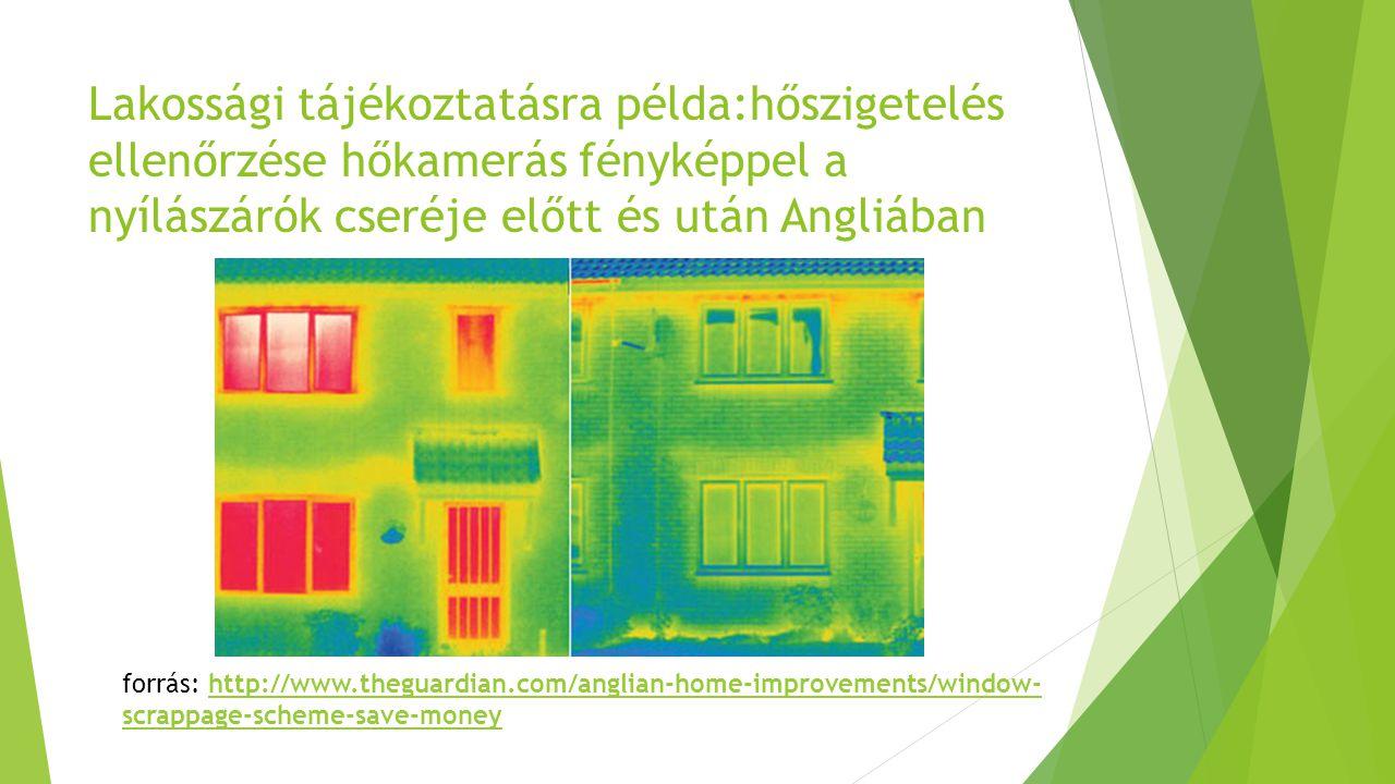 Lakossági tájékoztatásra példa:hőszigetelés ellenőrzése hőkamerás fényképpel a nyílászárók cseréje előtt és után Angliában forrás: http://www.theguardian.com/anglian-home-improvements/window- scrappage-scheme-save-moneyhttp://www.theguardian.com/anglian-home-improvements/window- scrappage-scheme-save-money