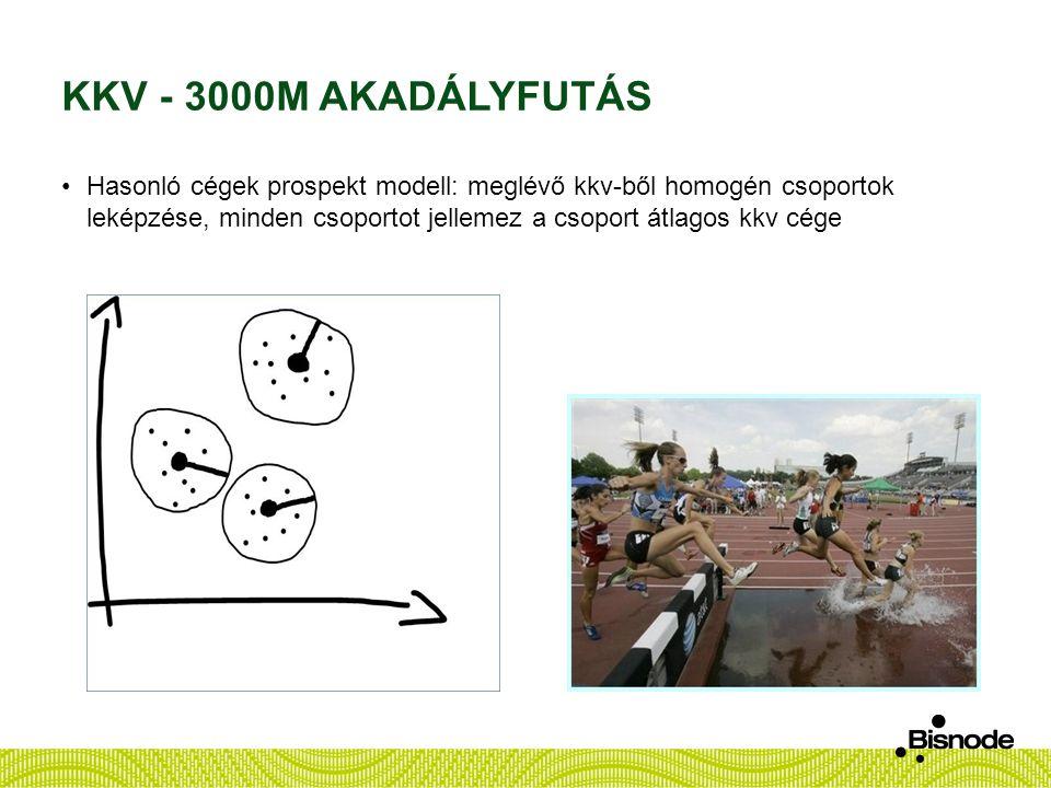 KKV - 3000M AKADÁLYFUTÁS Hasonló cégek prospekt modell: meglévő kkv-ből homogén csoportok leképzése, minden csoportot jellemez a csoport átlagos kkv c