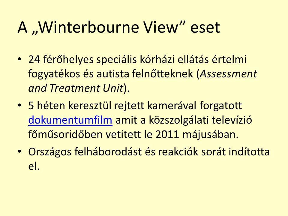 """A """"Winterbourne View eset 24 férőhelyes speciális kórházi ellátás értelmi fogyatékos és autista felnőtteknek (Assessment and Treatment Unit)."""