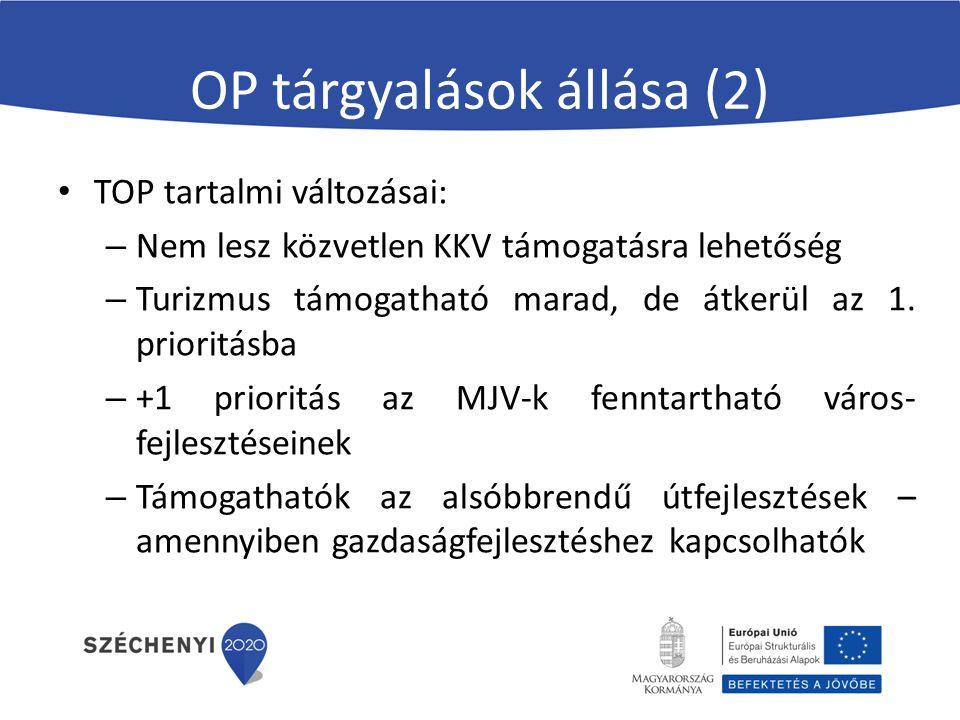 OP tárgyalások állása (2) TOP tartalmi változásai: – Nem lesz közvetlen KKV támogatásra lehetőség – Turizmus támogatható marad, de átkerül az 1. prior