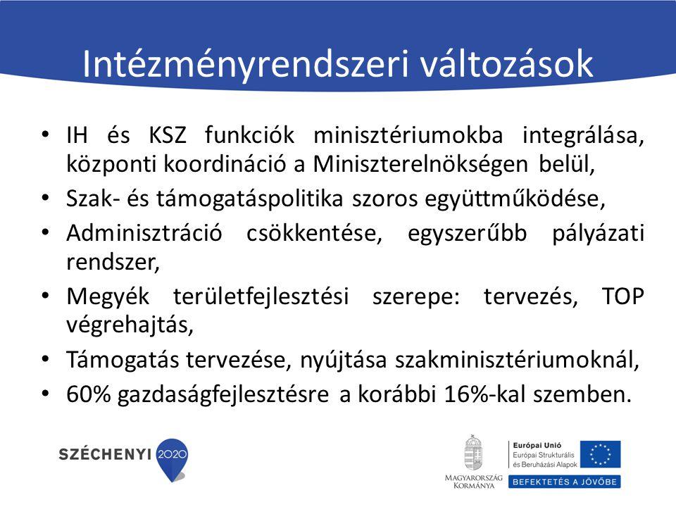 Intézményrendszeri változások IH és KSZ funkciók minisztériumokba integrálása, központi koordináció a Miniszterelnökségen belül, Szak- és támogatáspolitika szoros együttműködése, Adminisztráció csökkentése, egyszerűbb pályázati rendszer, Megyék területfejlesztési szerepe: tervezés, TOP végrehajtás, Támogatás tervezése, nyújtása szakminisztériumoknál, 60% gazdaságfejlesztésre a korábbi 16%-kal szemben.