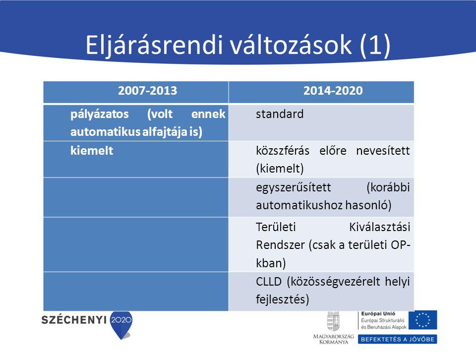 Eljárásrendi változások (1) 2007-20132014-2020 pályázatos (volt ennek automatikus alfajtája is) standard kiemelt közszférás előre nevesített (kiemelt) egyszerűsített (korábbi automatikushoz hasonló) Területi Kiválasztási Rendszer (csak a területi OP- kban) CLLD (közösségvezérelt helyi fejlesztés)